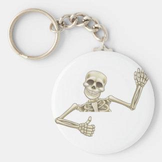 Thumbs Up Cartoon Halloween Skeleton Basic Round Button Key Ring