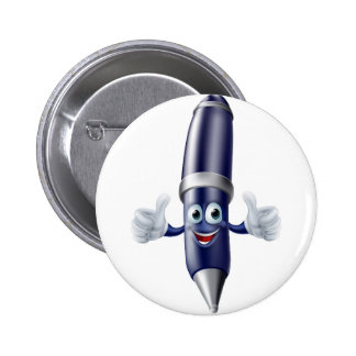 Thumbs up cartoon pen person 6 cm round badge
