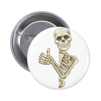 Thumbs Up Cartoon Skeleton Sign 6 Cm Round Badge