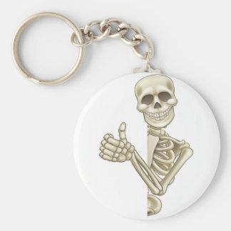 Thumbs Up Cartoon Skeleton Sign Basic Round Button Key Ring