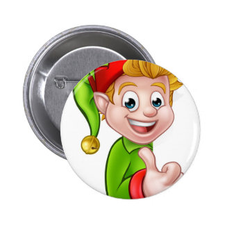 Thumbs Up Christmas Elf Cartoon Character 6 Cm Round Badge