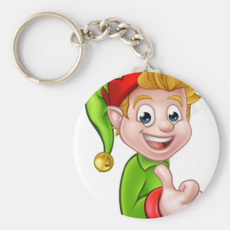 Thumbs Up Christmas Elf Cartoon Character Basic Round Button Key Ring