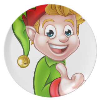 Thumbs Up Christmas Elf Cartoon Character Dinner Plates