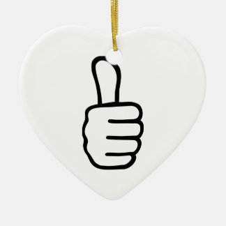 Thumbs up ceramic heart decoration