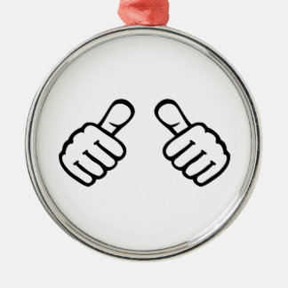 Thumbs up Silver-Colored round decoration
