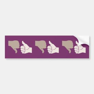 Thumbs Up Down Karma Goes Around Bumper Sticker
