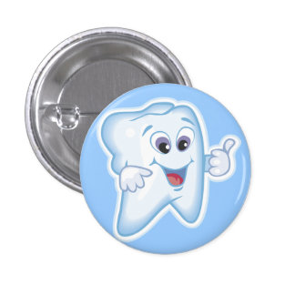 Thumbs up for dental hygiene! 3 cm round badge