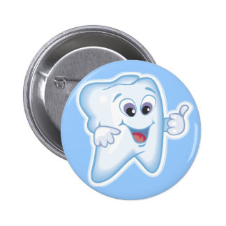 Thumbs up for dental hygiene! 6 cm round badge