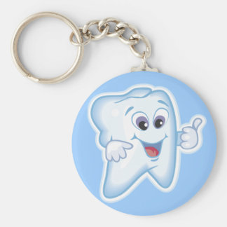 Thumbs up for dental hygiene! basic round button key ring