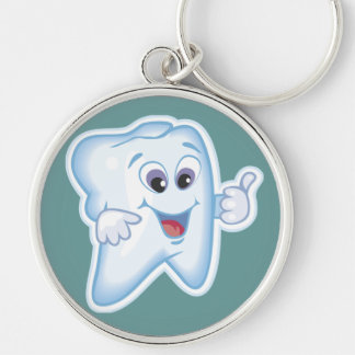 Thumbs up for dental hygiene! Silver-Colored round key ring