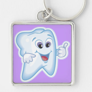 Thumbs up for dental hygiene! Silver-Colored square key ring