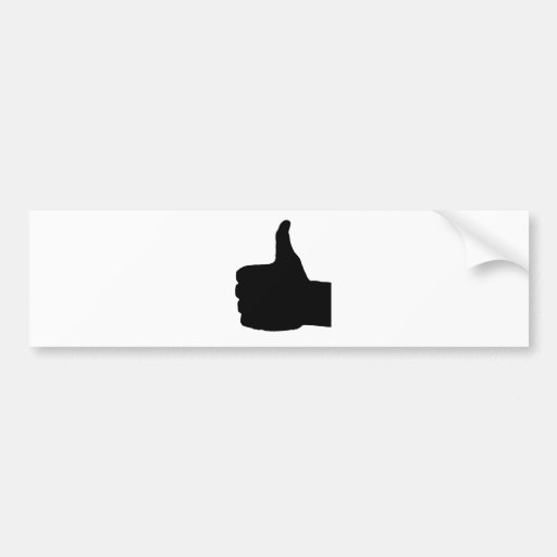 Thumbs Up Gesture, White Back Bumper Sticker