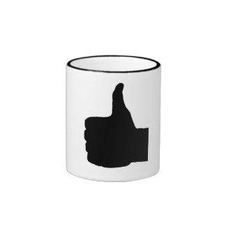 Thumbs Up Gesture, White Back Ringer Coffee Mug