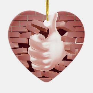 Thumbs Up Hand Smashing Wall Ceramic Heart Decoration