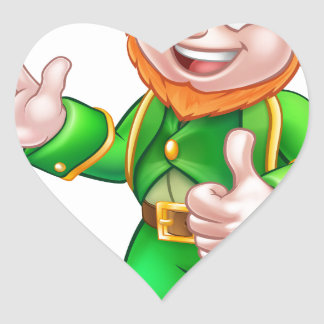 Thumbs Up Leprechaun St Patricks Day Character Heart Sticker