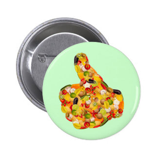 Thumbs UP OF fruits and vegetables 6 Cm Round Badge