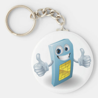 Thumbs up phone sim card person keychain