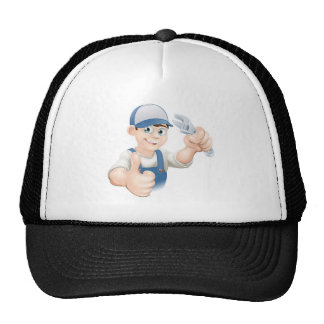 Thumbs up plumber with spanner hat