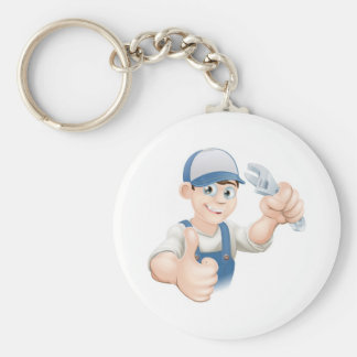 Thumbs up plumber with spanner key chain
