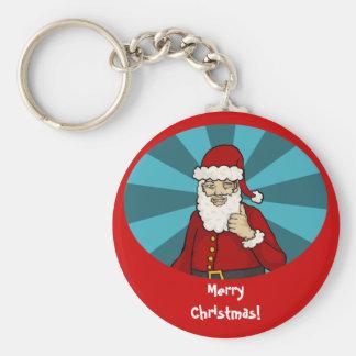 Thumbs Up, Santa -  keychain Basic Round Button Keychain