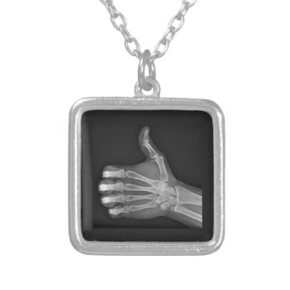 Thumbs up silver plated necklace