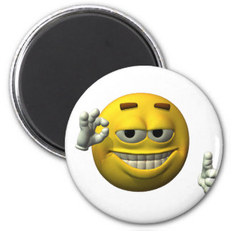 Thumbs Up Smiley Face character 6 Cm Round Magnet