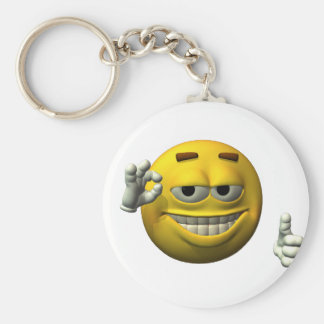 Thumbs Up Smiley Face character Basic Round Button Key Ring
