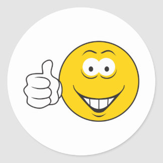 Thumbs Up Smiley Face Round Sticker
