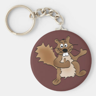 Thumbs Up Squirrel Basic Round Button Key Ring