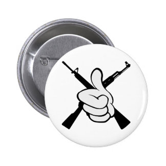 Thumbs Up W Crossed Rifles 6 Cm Round Badge