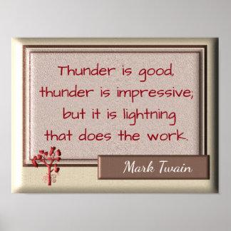 Thunder and Lightning - Mark Twain quote- Print