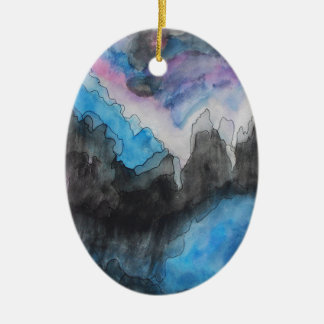 Thunder in the clouds ceramic oval decoration