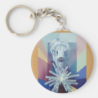 Thunder & Lightning-by Kathy Morrow white buffalo Key Ring