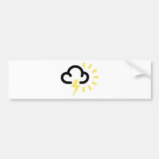 Thunder Storm Retro weather forecast symbol Bumper Sticker