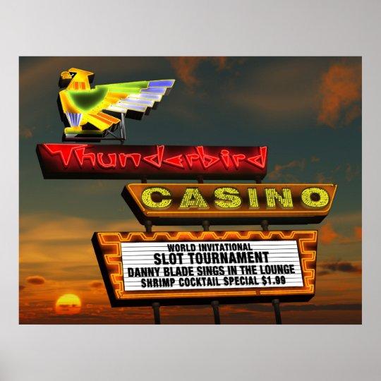 Thunderbird Casino Sign Las Vegas Retro Poster