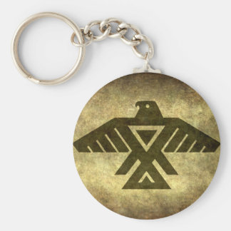 Thunderbird - Vintage parchment texture Basic Round Button Key Ring
