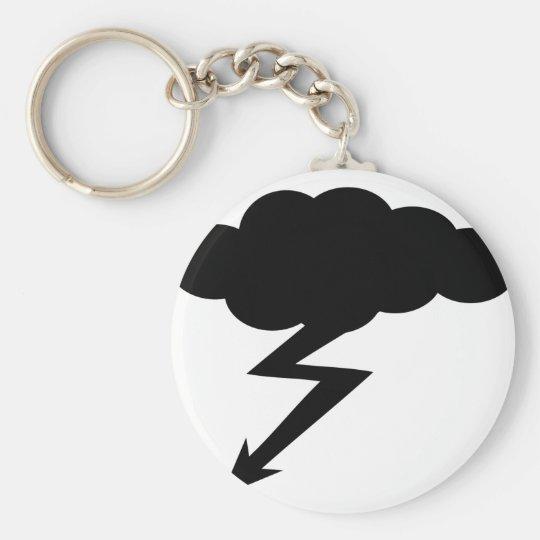 thunderstorm lightning basic round button key ring