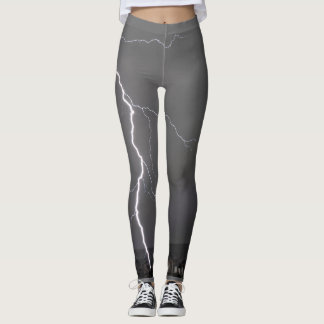 Thunderstorm Lightning with grey sky Leggings