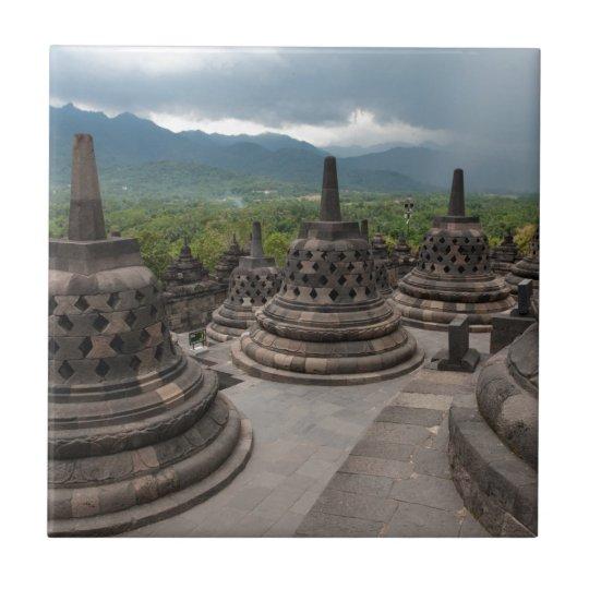 Thunderstorm over Borobudur Small Square Tile
