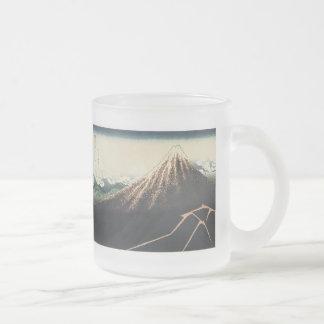 Thunderstorms Beneath The Summitt, Hokusai, 183... 10 Oz Frosted Glass Coffee Mug