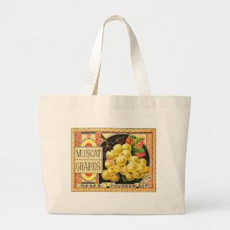 Thurber Muscat Grapes - Vintage Crate Label Canvas Bags