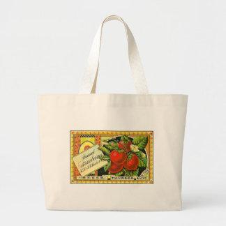Thurber Strawberries Vintage Crate Label Jumbo Tote Bag