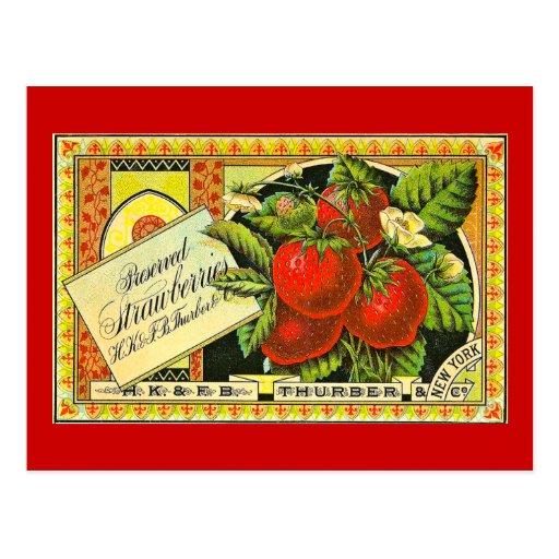 Thurber Strawberries Vintage Crate Label Vintage Post Card
