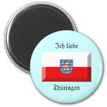 Thuringen Flag Gem 6 Cm Round Magnet