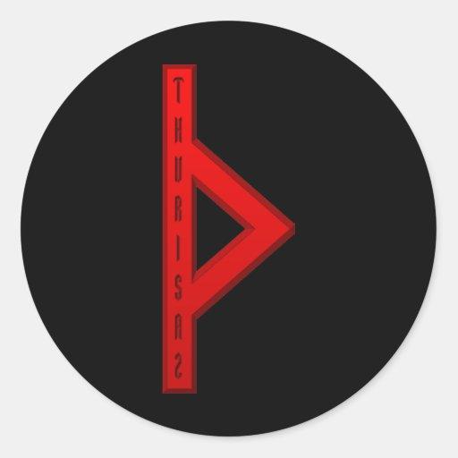 Thurisaz Rune red Round Stickers