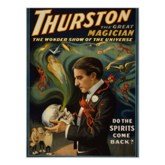 Thurston the Great Magician Holding Skull Magic Poster