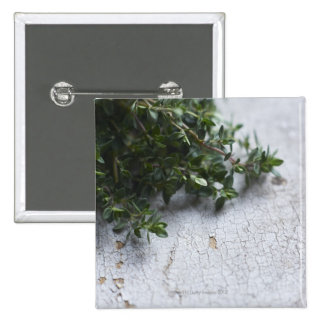Thyme on old wooden table 15 cm square badge