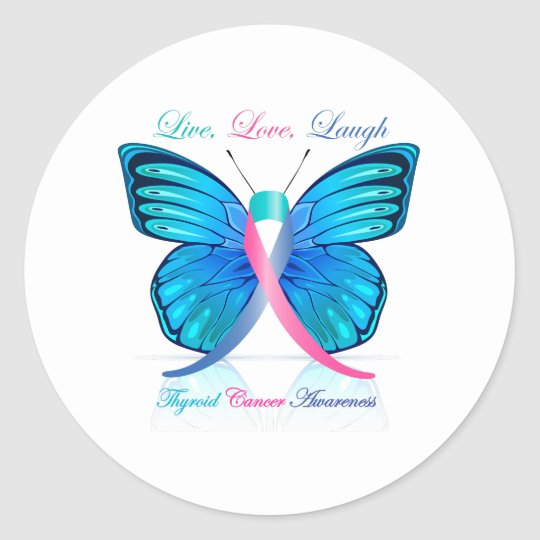 Thyroid Butterfly- Live Love Laugh Classic Round Sticker