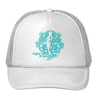 Thyroid Cancer Abstract Fight Like a Girl Cap