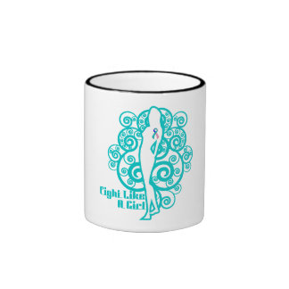Thyroid Cancer Abstract Fight Like a Girl Ringer Mug